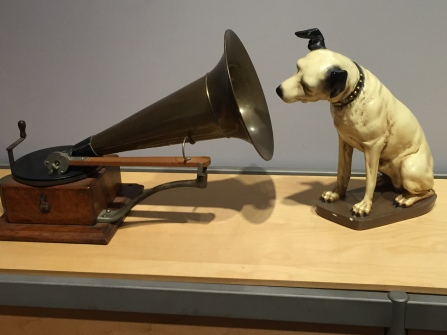 RCA Megaphone and dog statue